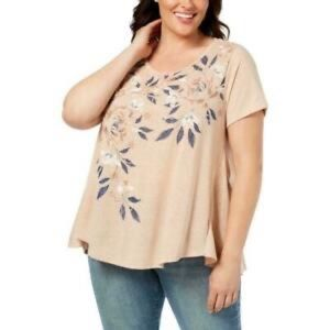 Style & Co Peach Short Sleeve Graphic Tee Size 2X